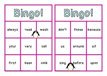 Sight Word Bingo Second Class Set