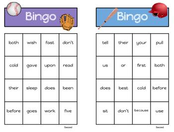 Sight Word Bingo - Second Grade List