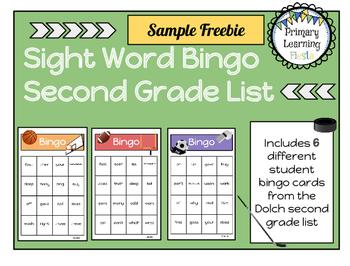 Sight Word Bingo - Second Grade List Freebie