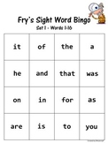 Sight Word Bingo Set 1 (Fry's words 1-16)