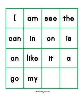 Sight Word Bingo - Set 1 (Level A - 1)