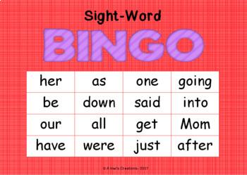 Sight-Word Bingo- Set 2