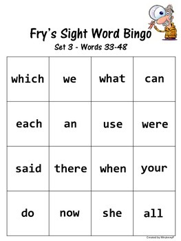 Sight Word Bingo Set 3 (Fry's words 33-48)