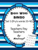 Sight Word Bingo Set 3 (Fry's words 33-48)