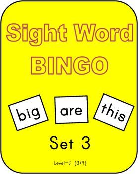 Sight Word Bingo  - Set 3 (Level C 3/4)