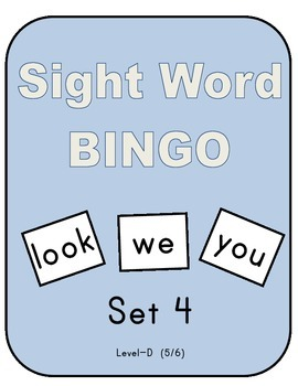 Sight Word Bingo - Set 4 (Level D 5/6)