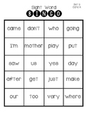 Sight Word Bingo ~ Set 5
