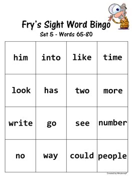 Sight Word Bingo Set 5 (Fry's words 65-80)