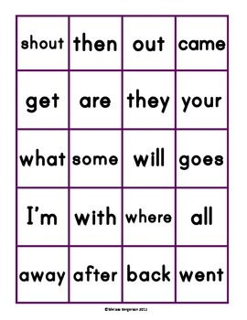 Sight Word Bingo - Set 5 (Level E 7/8)