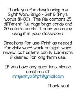 Sight Word Bingo Set 6 (Fry's words 81-100)