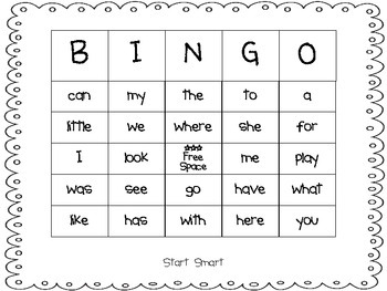 Sight Word Bingo Start Smart Macmillan/McGraw-Hill Treasures First Grade