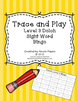 Sight Word Bingo Trace and Play (Dolch Level 3)
