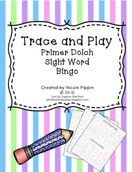 Sight Word Bingo Trace and Play (Dolch Primer)
