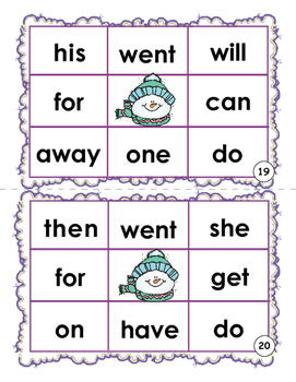 Sight Word Bingo - Winter Sight Word Bingo Game