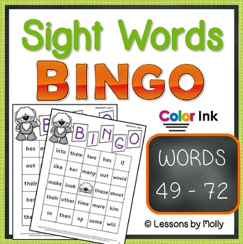 sight-words {BINGO-words 49 through 72 COLOR ink}