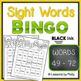 sight-words {BINGO-words 49 through 72 BLACK ink}
