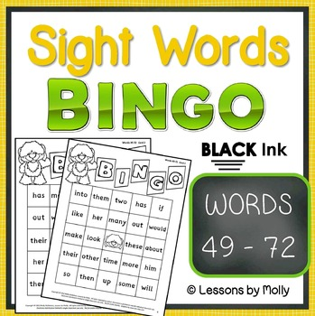 sight-words {BINGO-words 49 through 72 BLACK ink}