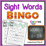 sight-words {BINGO-words 1 through 24 COLOR ink}