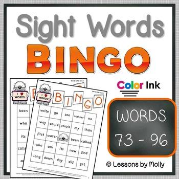 sight-words {BINGO-words 73 through 96 COLOR ink}