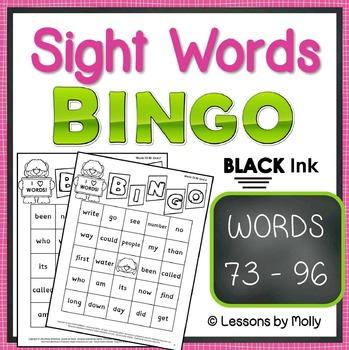 sight-words {BINGO-words 73 through 96 BLACK ink}