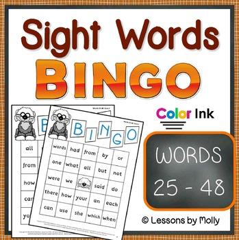 sight-words {BINGO-words 25 through 48 COLOR ink}