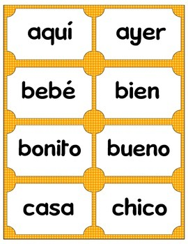 Sight Word Bingo and Flash Cards - Spanish