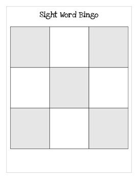 Sight Word Bingo (blank templates)