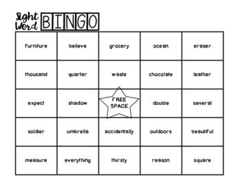 Sight Word Bingo for Big Kids