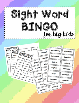 Sight Word Bingo for Big Kids