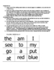 Sight Word Bingo for Pre-K, Kindergarten, or 1st Grade (Set A)