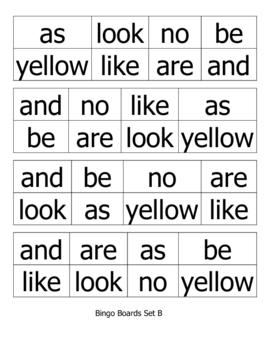 Sight Word Bingo for Pre-K, Kindergarten, or 1st Grade (Set B)