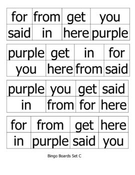Sight Word Bingo for Pre-K, Kindergarten, or 1st Grade (Set C)