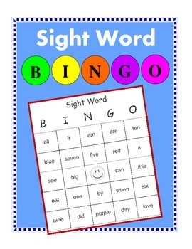 Sight Word Bingo with Sight Word List
