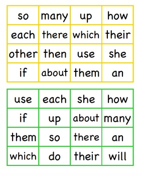 Sight Word Blackout 40-60