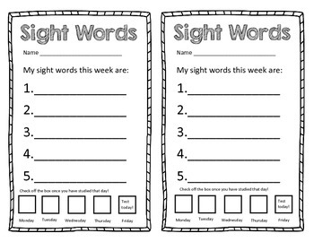Sight Word Blank Templete