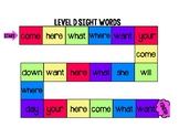 Sight Word Board Game (Level D on Jan Plan)