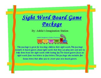 Sight Word Board Game Package