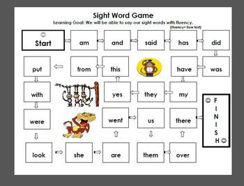 Sight Word Board Game- word doc