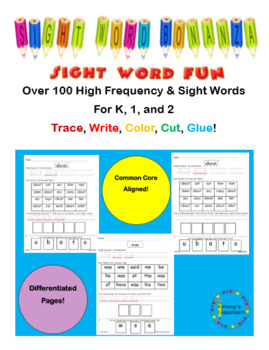 Sight Word Bonanza using high frequency and sight words for K, 1, 2