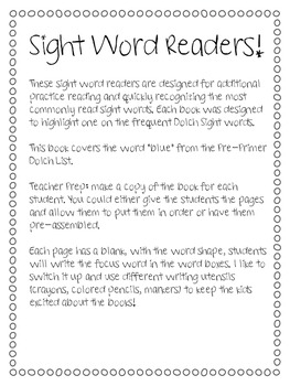 Sight Word Book - Blue