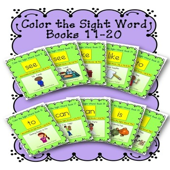 Sight Word Book Bundle, Set 2- See, Like, To, Can, Is Color the Sight Word Books