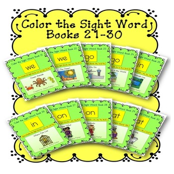 Sight Word Book Bundle, Set 3- We, Go, In, On, At  Color t