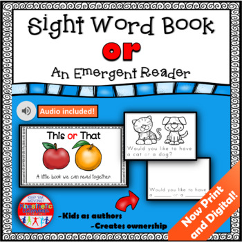 Sight Word Book Emergent Reader {Sight Word OR}