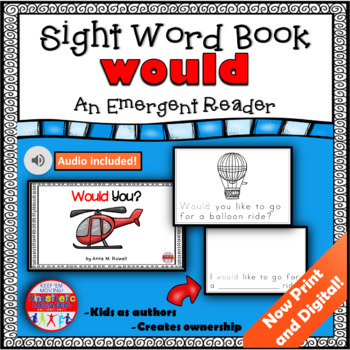 Sight Word Book Emergent Reader {Sight Word WOULD}