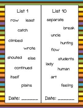 Sight Word Book- Fry's Eight 100 Words