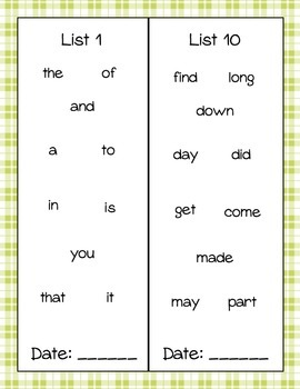 Sight Word Book- Fry's First 100 Words