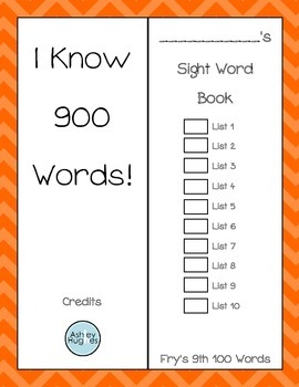 Sight Word Book- Fry's Ninth 100 Words