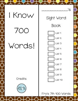 Sight Word Book- Fry's Seventh 100 Words