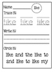 Sight Word: Like - Small Group Intervention Activities