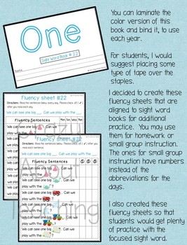 Sight Word Book-One (Kindergarten Benchmark Advance)